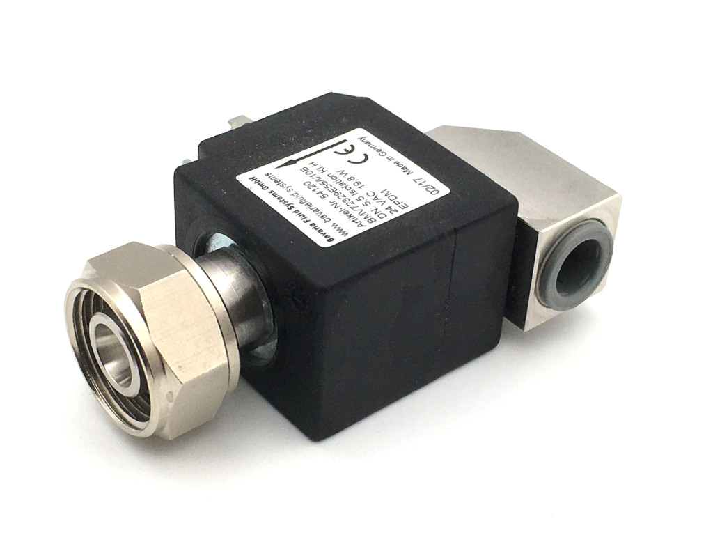 2/2-way-coaxial-beverage-solenoid valve BMV72330; stainless steel; 90° inlet; flow-optimized for beer and carbonated drinks