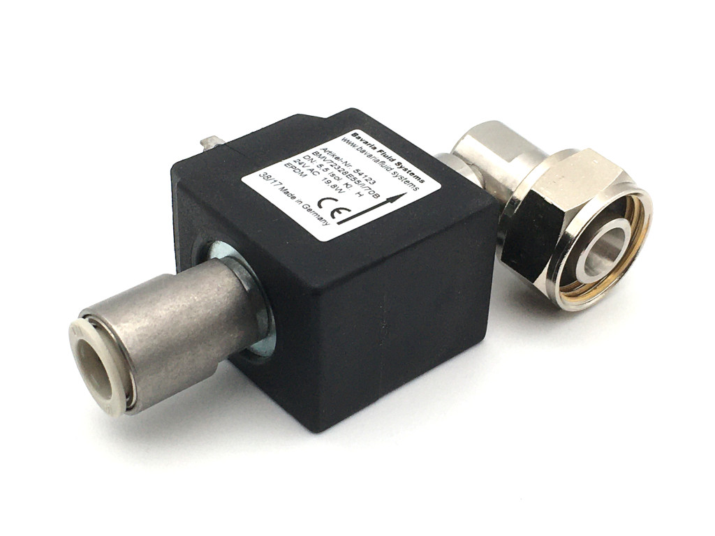 2/2-way-coaxial-beverage-solenoid valve BMV73028; stainless steel; 90° outlet; flow-optimized for beer and carbonated drinks