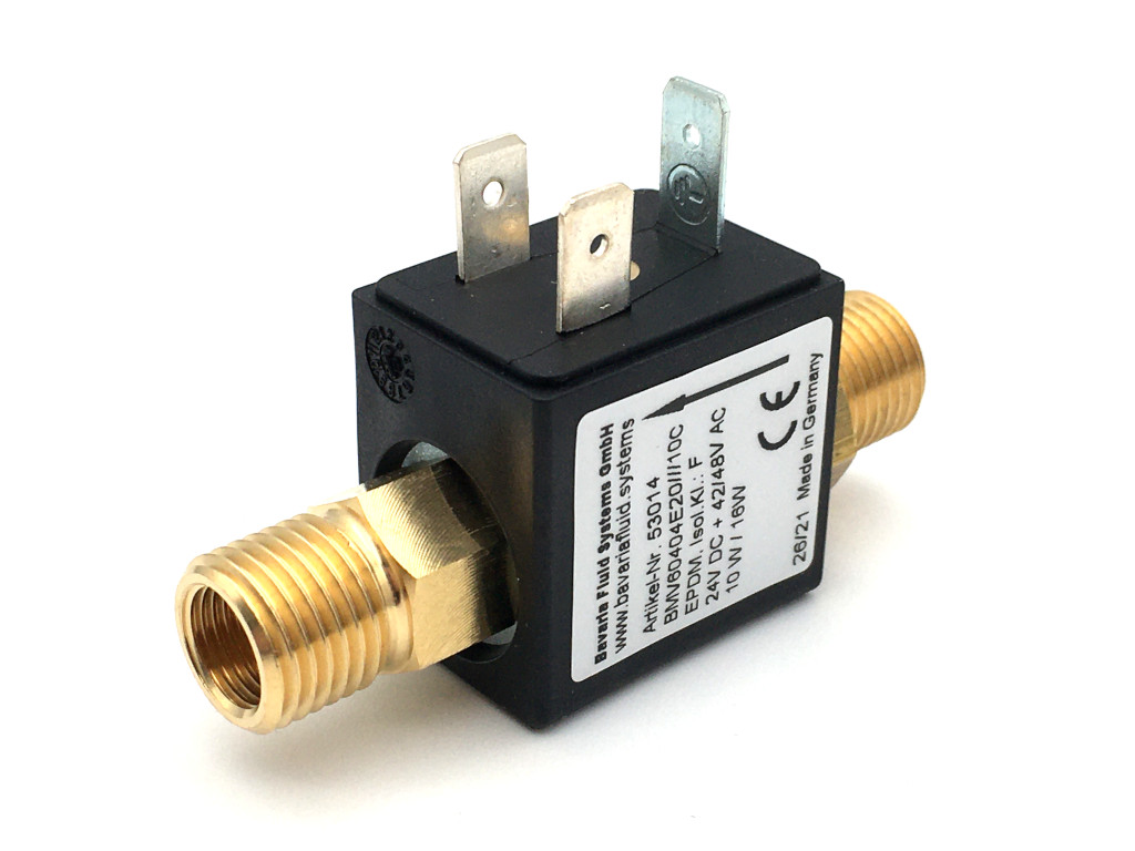 2/2-Way-Coaxial Gas Solenoid Valve BMV60404 in Brass for Laser- and Arc Welders, Inverter Welding Machines with Shielding Gas - MAG, MIG, TIG and for Flame Cutting Systems