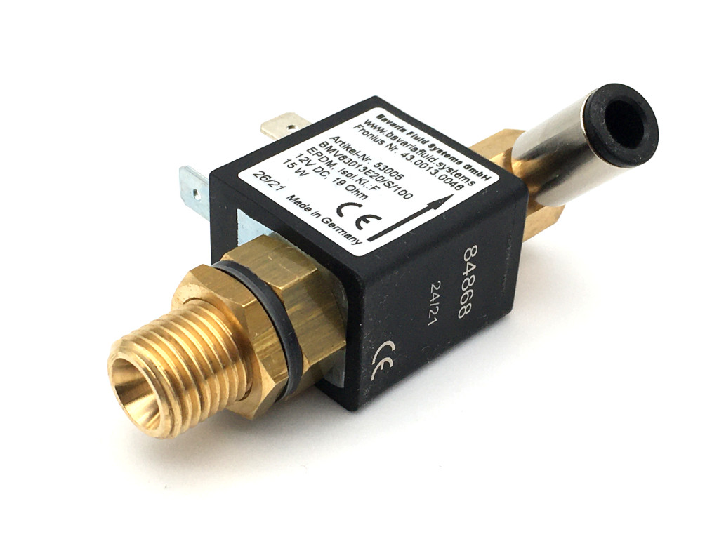 2/2-Way-Coaxial Gas Solenoid Valve BMV63013 in Brass for Laser- and Arc Welders, Inverter Welding Machines with Shielding Gas - MAG, MIG, TIG and for Flame Cutting Systems